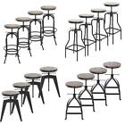 1/2/4 Industrial Swivel Bar Stool Vintage Metal Wood Kitchen Dining Chair T8T0