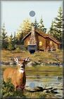 Deer In The Coutry Near Log Cabin Light Switch Plate Cover Wall Decor