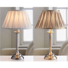 Large Traditional Metallic Gold Silver Table Lamp & Pleated Shade Vintage Living