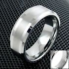Engraved Tungsten Men's Beveled Brushed Stripe Band Ring Size 5-15