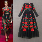 2016 New Fashion Women Long Sleeve Embroidered Flowers Vintage Tulle Long Dress
