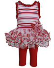 Bonnie Jean Girls Red Stripe Valentines Dress Outfit w Leggings 12M 4T New