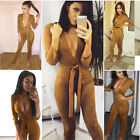 New Womens Clubwear 3/4 Sleeve Playsuit Ladies Bodycon Jumpsuit Rompers Trousers
