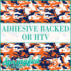 Orange & Navy Classic Camo Pattern Adhesive Craft Vinyl or HTV for Crafts Shirts