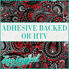 Red & Black Paisley Pattern Adhesive Vinyl or HTV for Crafts or Shirts