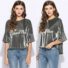 Fashion Womens O-Neck Blouse Printed Loose Butterfly Sleeve T-Shirt Silver Tops