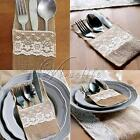 "4""x 8"" Hessian Burlap Lace Wedding Cutlery Holder Pouch Rustic Favor Decor"