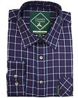 Country Classics Mens Long Sleeve Quality Check Shirt Fontwell Navy Blue S-5XL