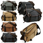 Внешний вид - Messenger Bag School Shoulder Bag Men's Vintage Crossbody Satchel Canvas Leather
