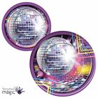 70s Fun Party 8 Piece Disco Fever Glitter Mirror Ball Paper Plates Tableware Set