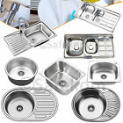 Stainless Steel Single Double Bowl Kitchen Sink With Drainer Plumbing Waste Kit