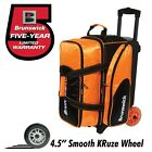 Brunswick Flash C Premium 2 Ball Roller Bowling Bag with Urethane Wheels Orange