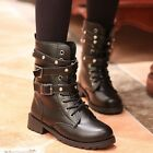 Womens Lace Up Punk Motorcycle Biker Military Army Combat Flat Ankle Boots Shoes