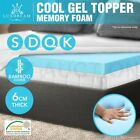 6 CM Cool Gel Memory Foam Mattress Topper Underlay BAMBOO Cover Ecologic 4 Sizes