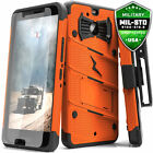 For HTC BOLT Case Cover Tempered Glass Kickstand Holster Armor FLAGSHIP