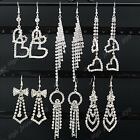 2014 New 6-12pairs Full Rhinestone Wedding Heart Women Long Silver Drop Earrings