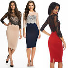 Womens Bodycon Mesh Lace 3/4 Sleeve Party Evening Cocktail Short Mini Dress Gown