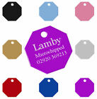Personalised Colourful Octagon Dog Pet ID Tag Disc 30mm, Engraved Free