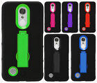 For LG Aristo IMPACT Hard Rubber Case Phone Kickstand Cover +Screen Protector