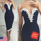 Summer Womens Navy Bodycon Strappy V Neck Lace Evening Party Ladies Midi Dress