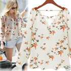 LADIES WOMEN SUMMER CASUAL TOPS LONG SLEEVE BLOUSE LOOSE CHIFFON FLORAL T-SHIRT