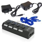 USB3.0 HUB 4 Port  with On/Off Switch+EU/US Power Adapter+Cable For Laptop PC