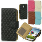 For Samsung Galaxy S4 S IV Quilted Leather Premium Wallet Case Pouch Flip Cover