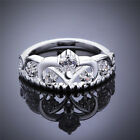 Promise Ring Designs for Women Silver Plated Zircon Princess Crown Jewelry