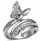Clear CZ set in Butterfly Stainless Steel Non Tarnish Wide Band Ring SZ 5-10