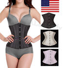 28 Spiral Steel Boned underbust Waist Training Corset Top Tummy Girdle Shaper US