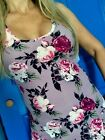 SOFT Brushed Violet Roses Floral tank top racerback fitted Plus 1X 2X 3X