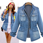 S-5XL Womens Denim Jeans Jackets Peacoats Coat Slim Fit Outwear Spring All Match