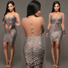 Ladies See Through Sequin Bodycon Bandage Women's Formal Party Short Mini Dress