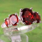 ELEGANT GARNET GEMSTONE SILVER COCKTAIL RINGS SIZE: 6, 7, 8, 9    JEWELRY