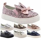 GIRLS KIDS CHILDREN PARTY GLITTER SKATER PUMPS PLIMSOLLS SHOES TRAINER BOOT SIZE