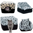 New Pet House Cute Paw Print Dog Cube Kennel Dual-Use Cat Nest Bed Cushion Mat