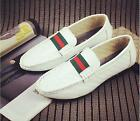 Mens pu leather slip on round toe flat heel loafers casual driving shoes new Hot