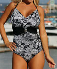 Sexy black white Flower One Piece MONOKINI SWIMSUIT SWIMWEAR US SIZE M L XL