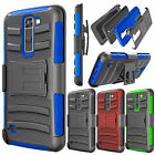 For LG K10 / Premier LTE Armor Refined Phone Cover + Belt Clip Holster Hard Case