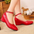 Women's Med Wedge Heels Platform Synthetic Leather Ankle Straps Pumps Shoes Size