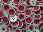 Plastic Buttons Red White round plastic button 13mm diameter in 5s or 25s new