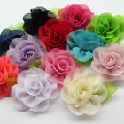 12pcs Chiffon Ribbon Flowers W Leaf Bows Appliques Craft  Wedding Doll Dec A0590