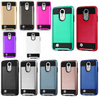 For LG Phoenix 3 Brushed Metal HYBRID Rubber Case Phone Cover + Screen Protector