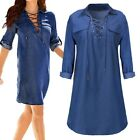 New Women Vintage Loose Washed Denim Dress Mid Long Sleeve Bandage Short Shirts