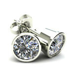 1.25Ct Round Brilliant Cut Natural Diamond Bezel Set Stud Earrings In 14K Gold