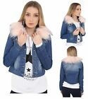 Womens Ladies Vintage Jacket Fur Collar Denim Outerwear Blue Jeans Coat