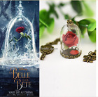 2017 Newest Movie Beauty and the Beast Glass Necklace Rose Vial Flower Dome Gift
