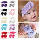 3Pcs New Elastic Hair Band Headband + Wrist Foot Flower Set For Kids Infant Gift