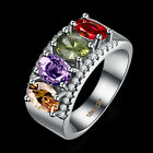 18KGRP White Gold Filled Jewelry Size6-9 Oval Red Sapphire Hot Engagement Rings