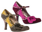 Ruby Shoo SOPHIE Shoes UK3-8 Olive Green / Wine Mary Jane Floral Corsage Kailey
